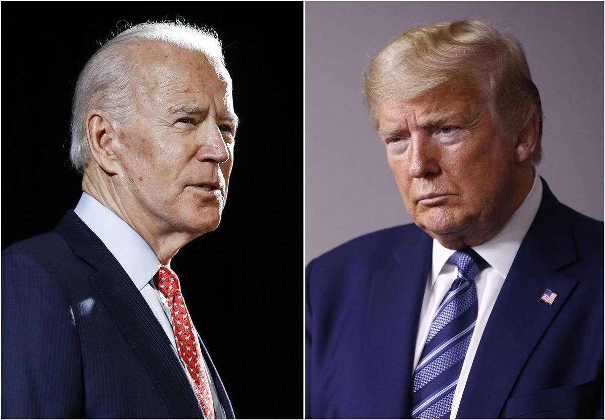 米国のバイデン前副大統領(左)とトランプ大統領(AP)
