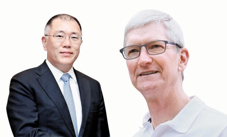 現代自動車の鄭義宣(チョン・ウィソン)会長(左)、アップルのティム・クックCEO